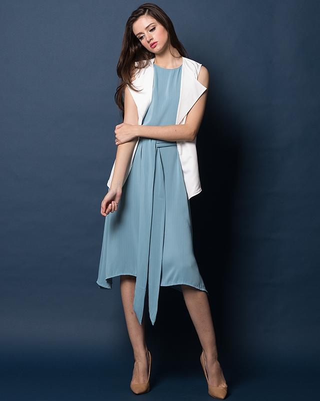 Blue Tie-Up Dress