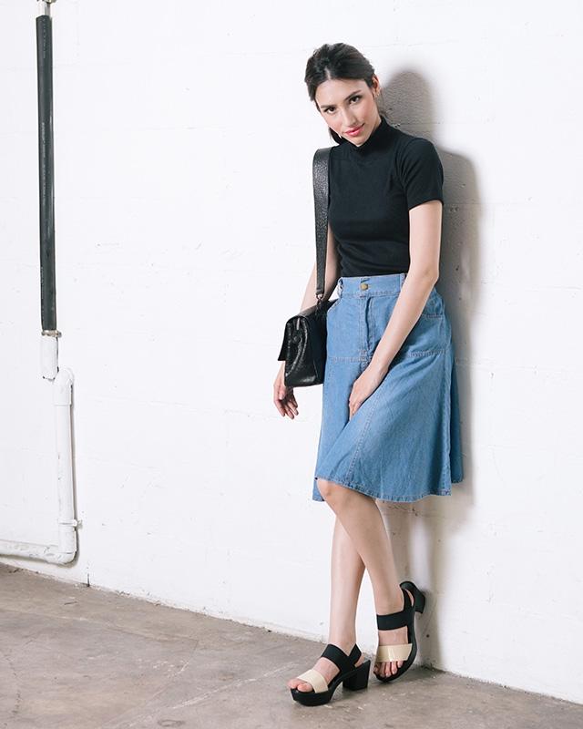 Foldline Denim Skirt