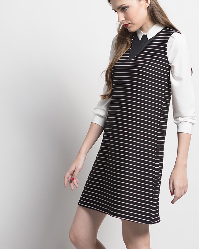 Black Stripe V-Neck Dress